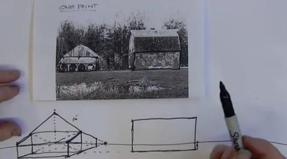 Drawing Barn Forms in Perspective: 1 point