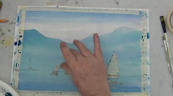 Sailboats In Watercolor Using Rubber Masking, 2 of 5