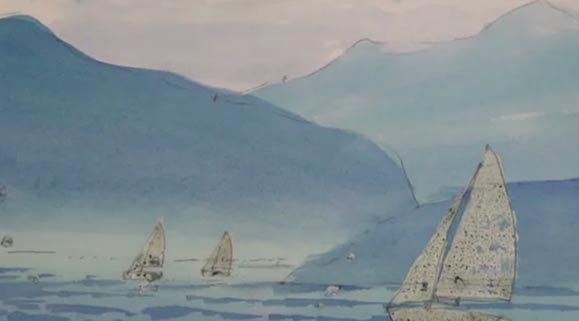 Sailboats In Watercolor Using Rubber Masking, 3 of 5