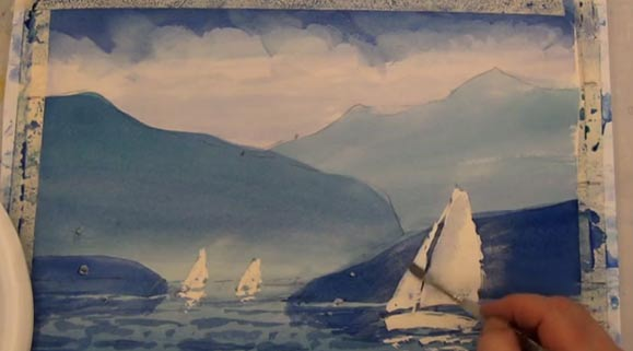 Sailboats In Watercolor Using Rubber Masking, 4 of 5